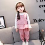 เสื้อตัวนอก+เสื้อตัวใน+กางเกง สีชมพู แพ็ค 4 ชุด ไซส์ 70-80-90-100