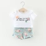 ชุดเซตเสื้อสีขาว+กางเกงลายดอกไม้สีฟ้า [size 6m-3y]
