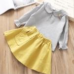 เสื้อ+กระโปรง สีเหลือง แพ็ค 5 ชุด ไซส์ 5-7-9-11-13