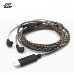 ขาย KZ USB Type C สายชุบเงินถัก ขั้ว 2 พิน แบบ USB Type C สำหรับหูฟัง KZ