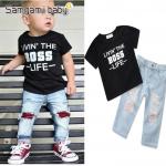 เสื้อ+กางเกง สีดำ แพ็ค 5ชุด ไซส์ 80-90-100-110-120 (เลือกไซส์ได้)