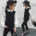 เสื้อตัวนอก+เสื้อตัวใน+กางเกง สีดำ แพ็ค 5 ชุด ไซส์ 120-130-140-150-160 (เลือกไซส์ได้)