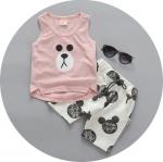 ชุดเซตเสื้อลายหมีสีชมพู+กางเกง