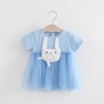 ชุดเดรสสีฟ้าแต่งกระต่ายที่อก [size 1y-2y-3y]