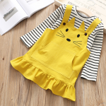 เสื้อ+เอี๊ยมกระโปรง สีเหลือง แพ็ค 5 ชุด ไซส์ 100-110-120-130-140
