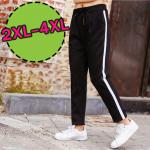 [2XL-3XL-4XL] P8289 กางเกงวอร์มบุขน ทรงหลวม เอวรูดยางยืด แต่งแถบสีขาวด้านข้าง ( 2XL-3XL-4XL )