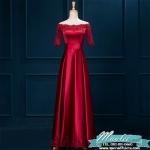Pre-order ชุดราตรียาว แบบไหล่ปาด แขนยาว ผ้าซาติน แต่งลูกไม้สวยหรู สีไวน์แดง (เชือกผูกหลัง)