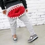 กางเกงขายาวสีเทาแต่งซิปปากฉลามตรงก้น [size 2y-4y-5y-6y]