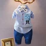 ชุดเซตเสื้อเชิ้ตแขนยาวลายทางสีฟ้า+กางเกง [size 1y-2y-3y-4y]