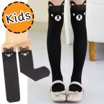 [ไซส์เด็ก] K5876 ถุงน่องเด็ก แบบสีดำครึ่งขา ลายหมีน้อย Little Bear