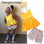เสื้อ+กางเกง สีเหลือง แพ็ค 5ชุด ไซส์ 80-90-100-110-120 (เลือกไซส์ได้)