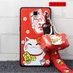 เคส OPPO R7 Plus พลาสติก TPU ลายแมวกวักนำโชค Lucky cat พร้อมสายคล้องมือและกระเป๋าเก็บสายหูฟัง ราคาถูก