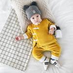 เสื้อ+กางเกง สีเหลือง (ด้านในมีขนอ่อนๆ) แพ็ค 6 ชุด ไซส์ 66-73-80-80-90-90