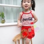 เสื้อ+กางเกง สีแดง แพ็ค 5 ชุด ไซส์ 100-110-120-130-140