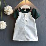 เสื้อ+เอี๊ยมกระโปรง สีเขียว แพ็ค 5 ชุด ไซส์ 100-110-120-130-140
