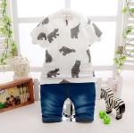 ชุดเซตเสื้อสีขาวลายหมี+กางเกง