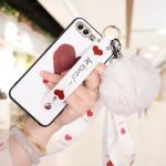 เคส Huawei P10 Plus ซิลิโคนสกรีนลายหัวใจ พร้อมสายคล้องมือ สวยงามมาก ราคาถูก