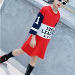 เสื้อยาว สีแดง แพ็ค 5 ชุด ไซส์ 120-130-140-150-160 (เลือกไซส์ได้)