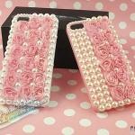 case iphone 5 เคสไอโฟน5 เคสประดับมุกติดดอกกุหลาบเล็กๆ หลายดอก The pearl paste drilling the Rose