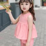 เสื้อ+กางเกง สีชมพู แพ็ค 5 ชุด ไซส์ 80-90-100-110-120