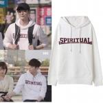 เสื้อฮู้ด (Hoodie) สีขาว SPIRITUAL แบบ Lee Jongsuk ในซีรี่ย์ While You Were Sleeping
