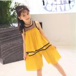 เสื้อ+กางเกง สีเหลือง เเพ็ค 6 ชุด ไซส์ 110-120-130-140-150-160