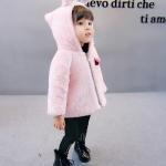 เสื้อกันหนาวขนสัตว์สีชมพูมีฮู้ดหูกระต่าย [size 4y]