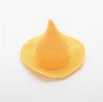 หมวกฟางถักทรงแหลมสีเหลือง