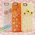 case iphone 5 เคสไอโฟน5 เคสติดดอกไม้น่ารักประดับเพชรและมุกหรูหรา