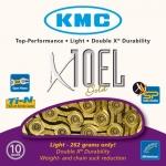 โซ่เกียร์ KMC X10-EL 10 สปีด ยาว 116 ข้อ พร้อมข้อต่อโซ่แบบปลดเร็ว มีแพ็คกล่อง ,สีเงินและสีทอง