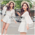 Lady Catherine Casual Flared Sleeve Lace Playsuit in White