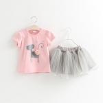 ชุดเซตเสื้อสีชมพูลายน้องแมว+กระโปรงสีเทา [size 1y-2y-3y-4y-5y]