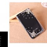 case Note 2 เคส Samsung Galaxy Note 2 เคสประดับเพชรและดอกไม้ตรงมุมเคส สวยๆ