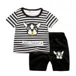 ชุดเซตเสื้อลายขวางสีดำลายน้องหมา+กางเกงสีดำ [size 1y-2y-3y-4y-5y]