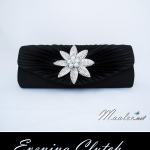 Sale พร้อมส่ง Evening Clutch กระเป๋าออกงาน ผ้าซาตินสีดำ จับจีบ แต่งคริสตัลดอกไม้หรู