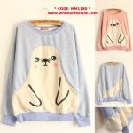 [Pre-order] MM1180 เสื้อกันหนาวแบบสวม แขนยาว ลายแมวน้ำ