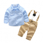 เสื้อ+เอี๊ยมกางเกง สีฟ้า แพ็ค 4 ชุด ไซส์ 70-80-90-95 (เลือกไซส์ได้)