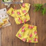 เสื้อ+กางเกง สีเหลือง แพ็ค 5ชุด ไซส์ 90-100-110-120-130 (เลือกไซส์ได้)