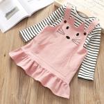 เสื้อ+เอี๊ยมกระโปรง สีชมพู แพ็ค 5 ชุด ไซส์ 100-110-120-130-140