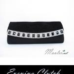 Sale พร้อมส่ง Evening Clutch กระเป๋าออกงาน สีดำ ฝาลายสานสวย ฝาแต่งเลื่อมสลับขาวดำ