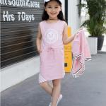 เดรส+เสื้อกั๊ก สีชมพู แพ็ค 5 ชุด ไซส์ 110-120-130-140-150 (เลือกไซส์ได้)