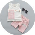 ชุดเซตเสื้อลายตัวหนังสือ+กางเกงสีชมพู
