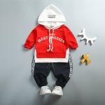 ชุดเซตเสื้อกันหนาวสีแดงมีฮู้ด+กางเกงขายาวสีดำ [size 1y-2y-3y-4y]