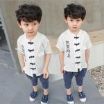 เสื้อ+กางเกง สีขาว แพ็ค 5 ชุด ไซส์ 90-100-110-120-130 (เลือกไซส์ได้)