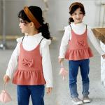 เสื้อตัวนอก+เสื้อตัวใน สีชมพู แพ็ค 5 ชุด ไซส์ 80-90-100-110-120 (เลือกไซส์ได้)