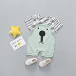 เสื้อ+เอี๊ยมกางเกง สีเขียว แพ็ค 4 ชุด ไซส์ 80-90-100-110