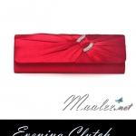 พร้อมส่ง Evening Clutch กระเป๋าออกงาน สีแดง ทรงสีเหลี่ยม จับเดรปแต่งคริสตัล มาพร้อมสายโซ่สั้น/ยาว