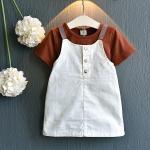 เสื้อ+เอี๊ยมกระโปรง สีน้ำตาล แพ็ค 5 ชุด ไซส์ 100-110-120-130-140
