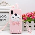 เคส Huawei Nova 3e (P20 Lite) ซิลิโคน soft case แบบนิ่มน่ารักมาก พร้อมสายคล้องเข้าชุด ราคาถูก