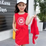 เดรส+เสื้อกั๊ก สีแดง แพ็ค 5 ชุด ไซส์ 110-120-130-140-150 (เลือกไซส์ได้)
